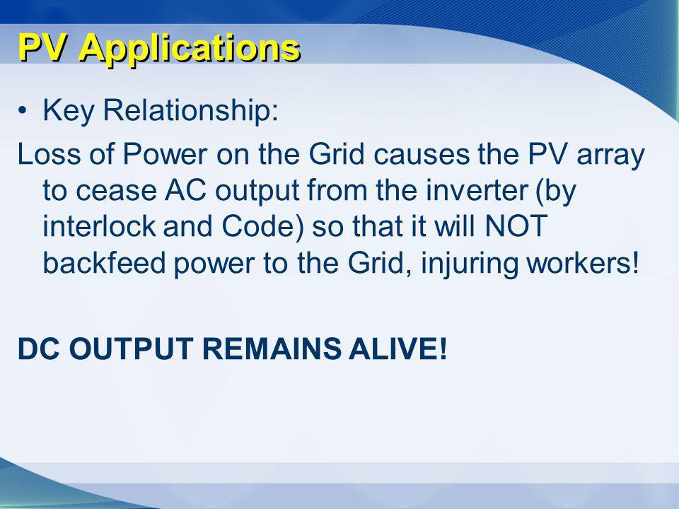 PV Applications Key Relationship: