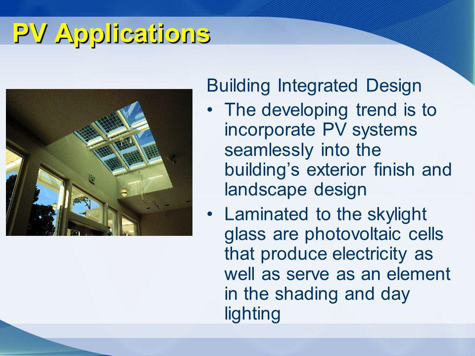 PV Applications Building Integrated Design