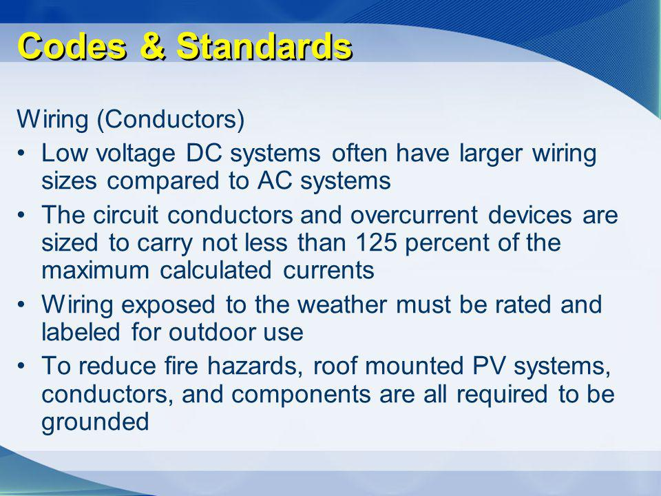 Codes & Standards Wiring (Conductors)