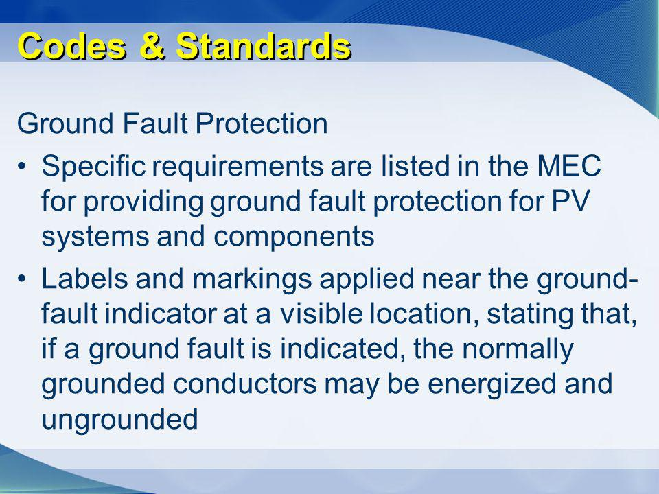 Codes & Standards Ground Fault Protection