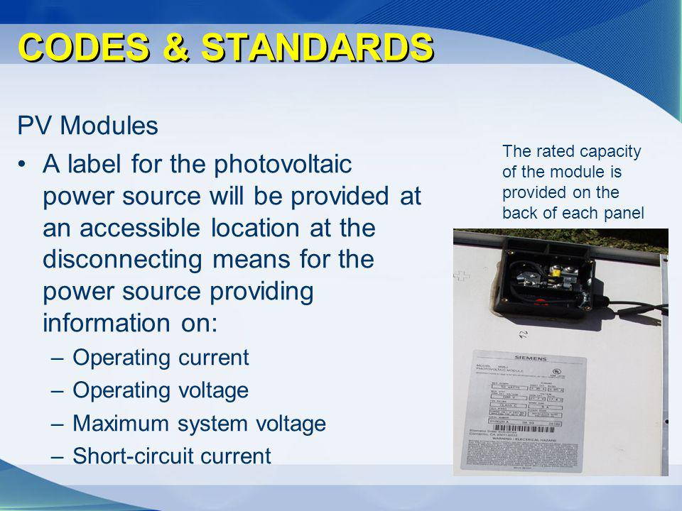 CODES & STANDARDS PV Modules