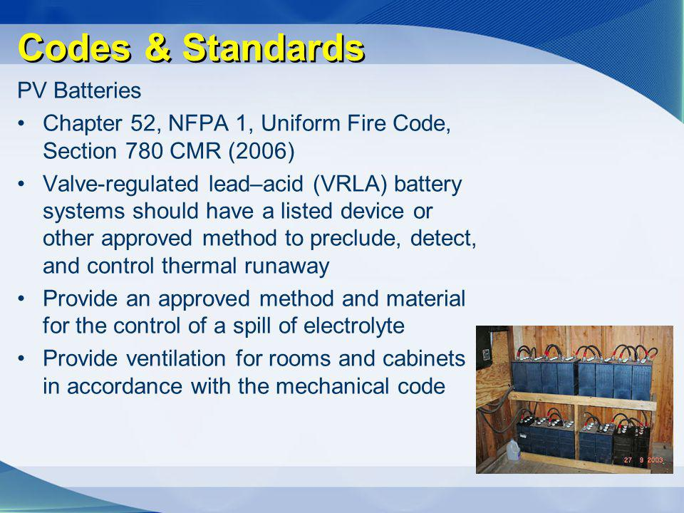 Codes & Standards PV Batteries