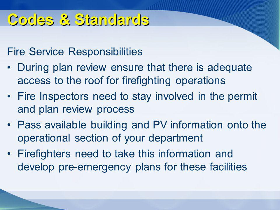 Codes & Standards Fire Service Responsibilities