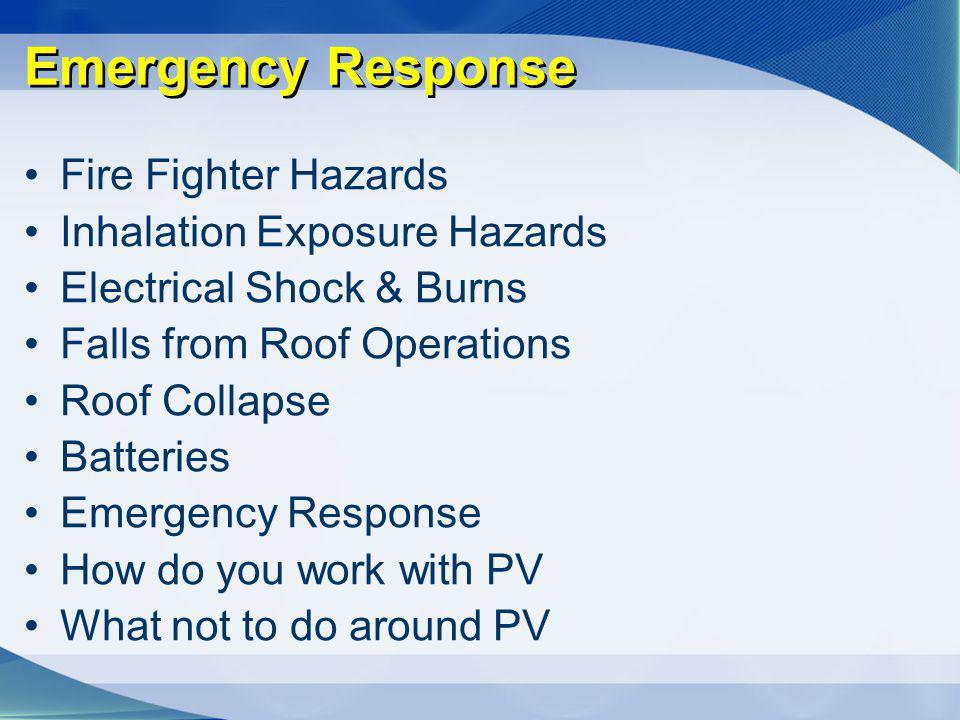 Emergency Response Fire Fighter Hazards Inhalation Exposure Hazards