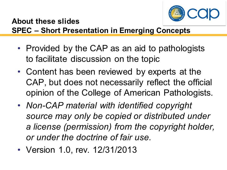 About these slides SPEC – Short Presentation in Emerging Concepts