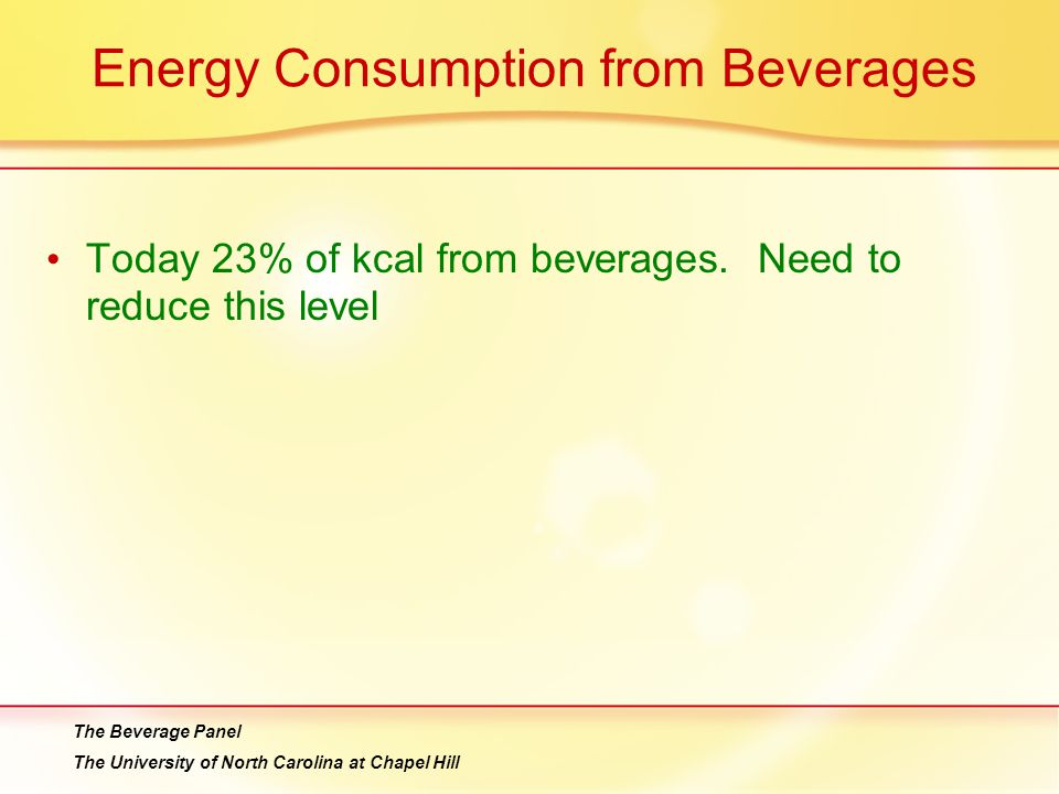 Energy Consumption from Beverages