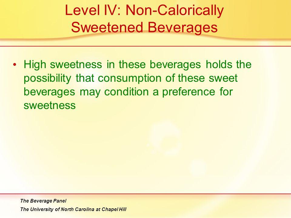 Level IV: Non-Calorically Sweetened Beverages