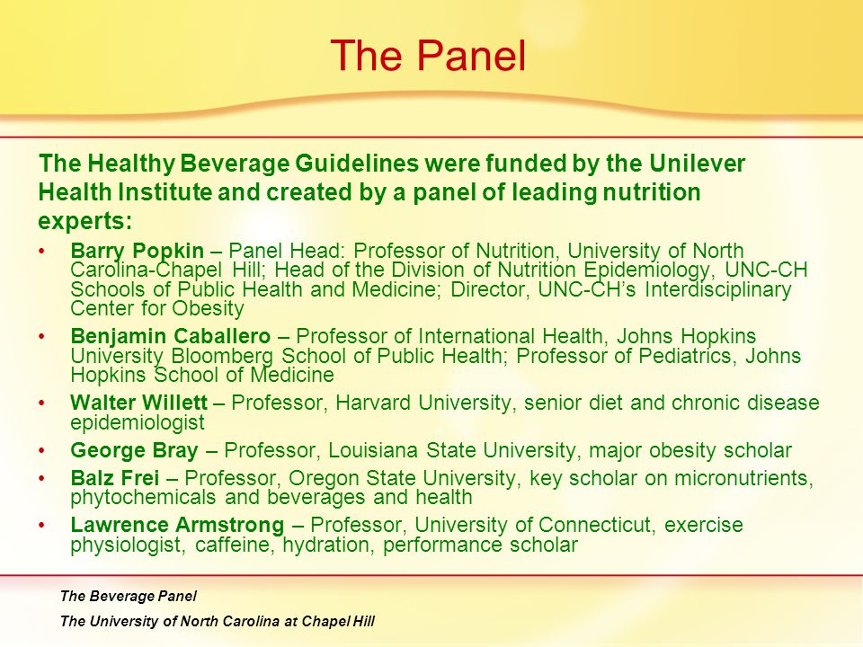 The Panel The Healthy Beverage Guidelines were funded by the Unilever