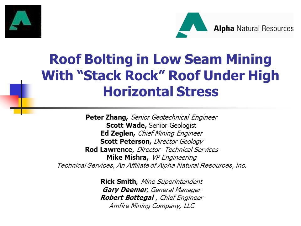 Roof Bolting in Low Seam Mining With Stack Rock Roof Under High Horizontal Stress