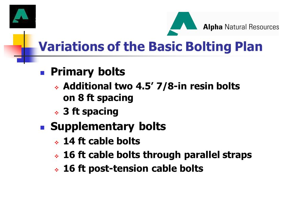 Variations of the Basic Bolting Plan