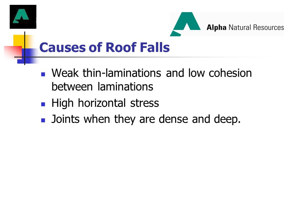 Causes of Roof Falls Weak thin-laminations and low cohesion between laminations. High horizontal stress.