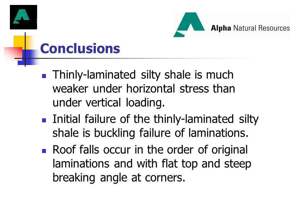 Conclusions Thinly-laminated silty shale is much weaker under horizontal stress than under vertical loading.
