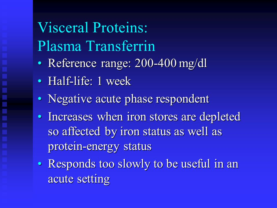 Visceral Proteins: Plasma Transferrin