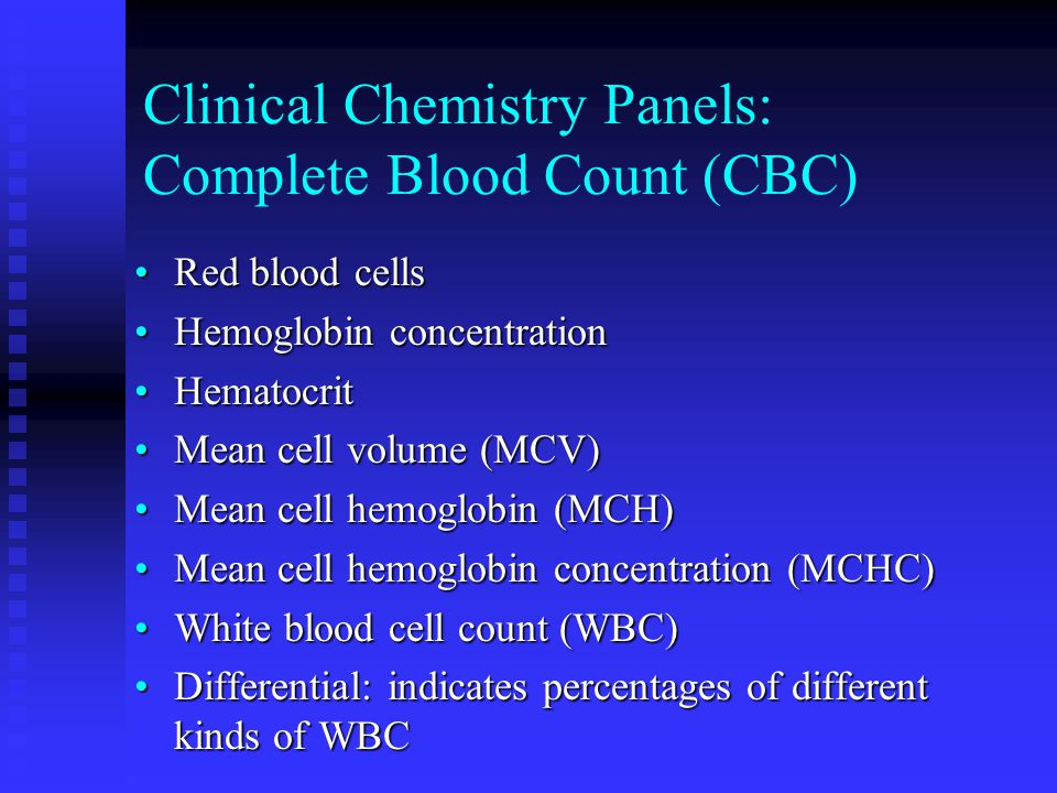 Clinical Chemistry Panels: Complete Blood Count (CBC)