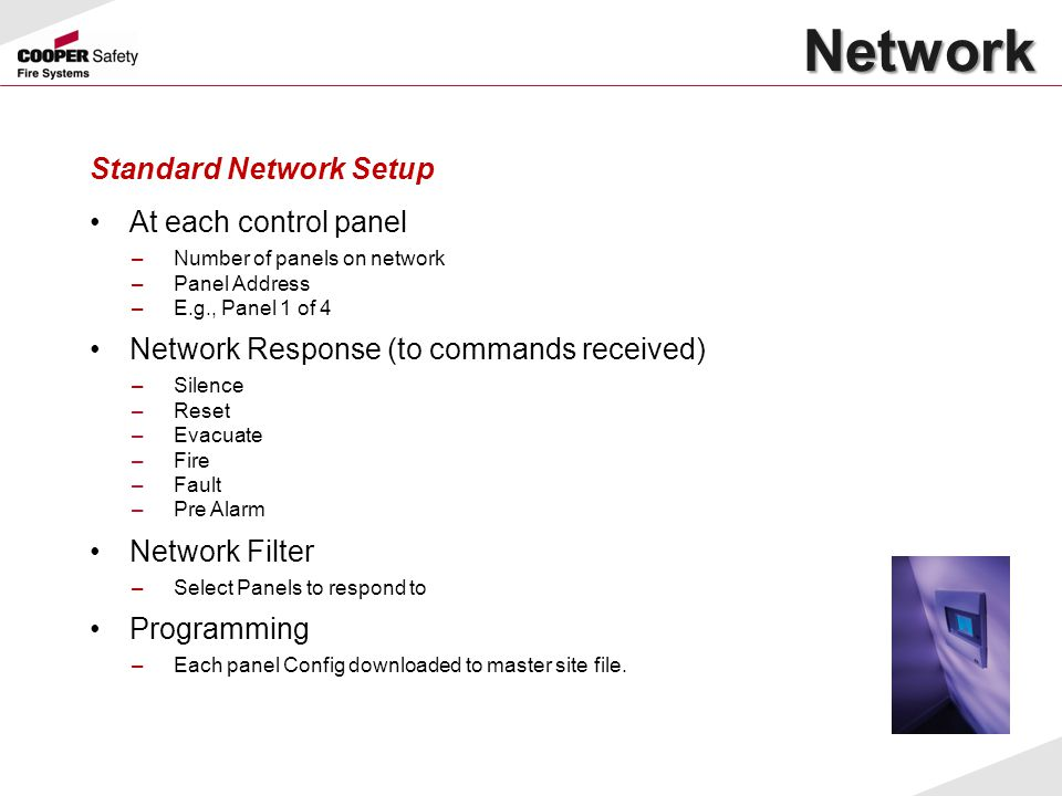 Network Standard Network Setup At each control panel