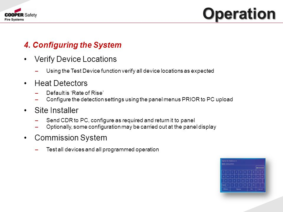 Operation 4. Configuring the System Verify Device Locations