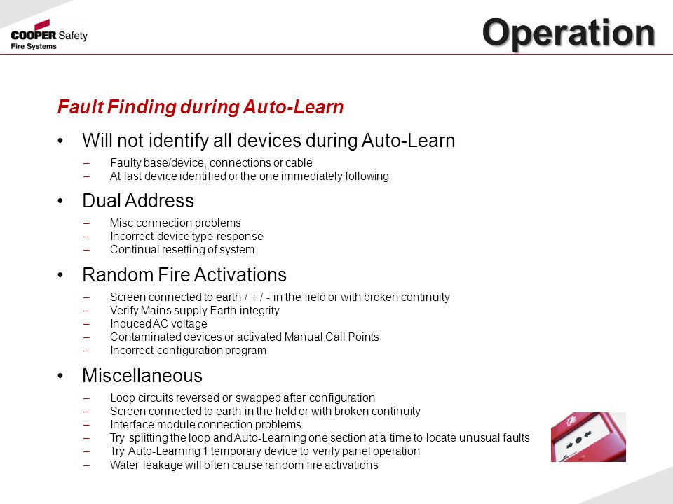Operation Fault Finding during Auto-Learn