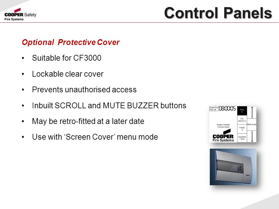 Control Panels Optional Protective Cover Suitable for CF3000