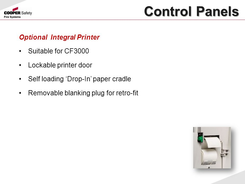 Control Panels Optional Integral Printer Suitable for CF3000