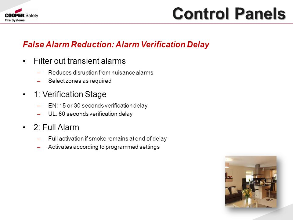 Control Panels False Alarm Reduction: Alarm Verification Delay