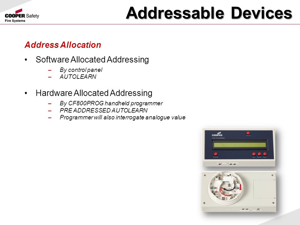 Addressable Devices Address Allocation Software Allocated Addressing