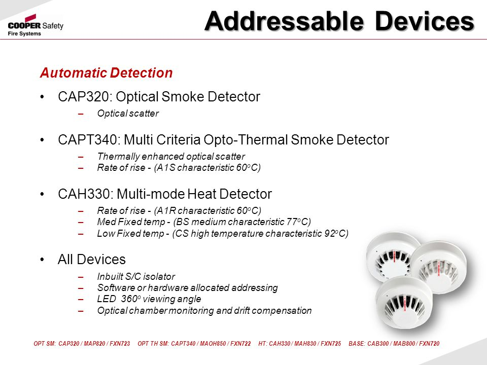 Addressable Devices Automatic Detection CAP320: Optical Smoke Detector