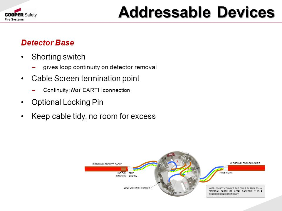 Addressable Devices Detector Base Shorting switch