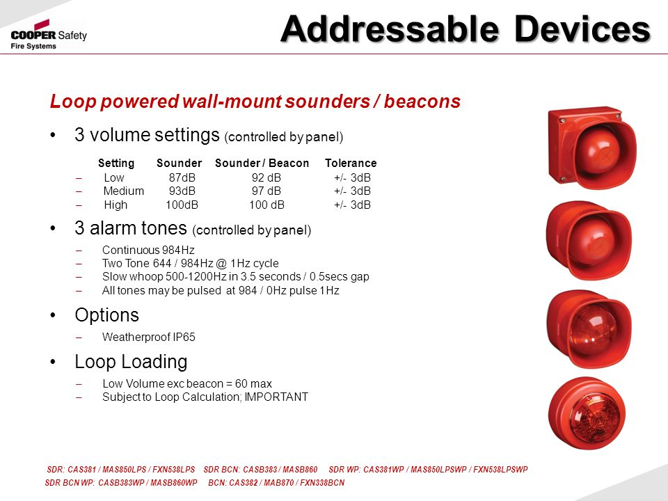 Addressable Devices Loop powered wall-mount sounders / beacons