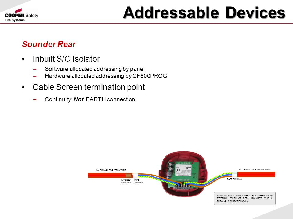 Addressable Devices Sounder Rear Inbuilt S/C Isolator
