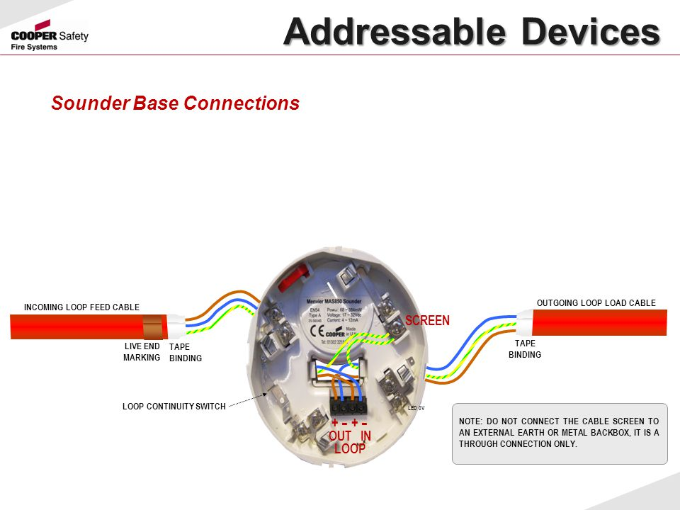 Addressable Devices Sounder Base Connections + - + - SCREEN OUT IN