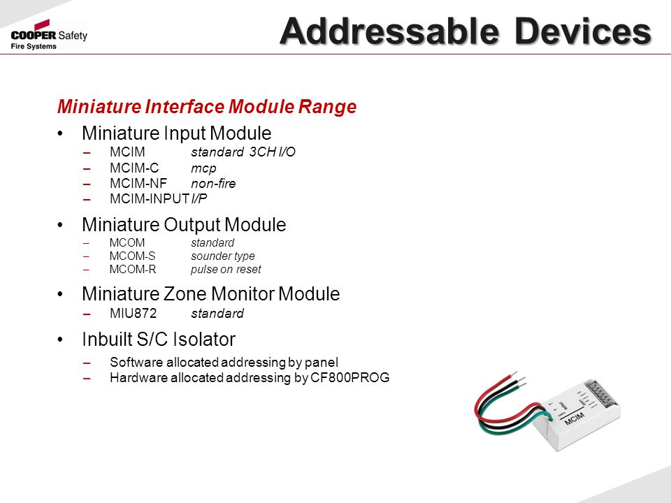 Addressable Devices Miniature Interface Module Range
