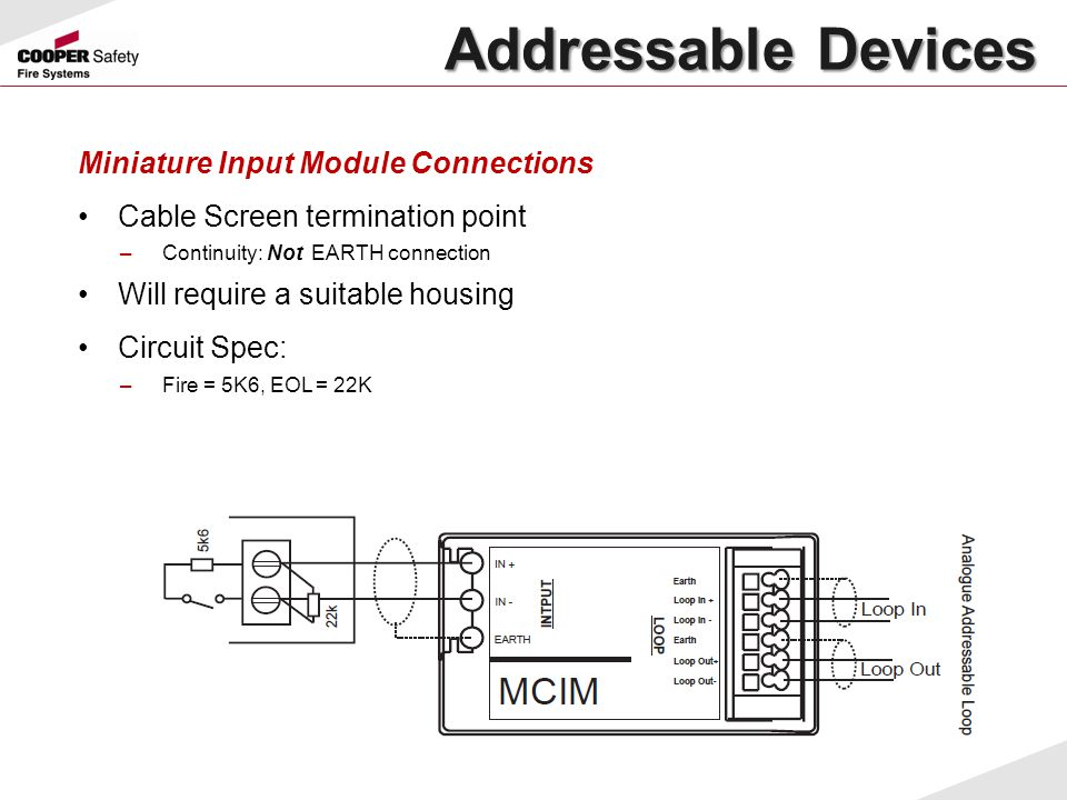 Addressable Devices Miniature Input Module Connections