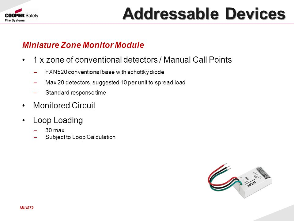 Addressable Devices Miniature Zone Monitor Module