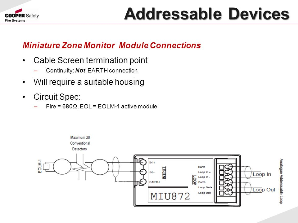 Addressable Devices Miniature Zone Monitor Module Connections