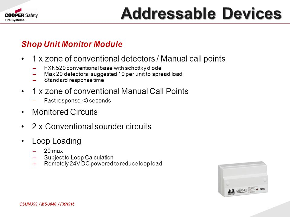 Addressable Devices Shop Unit Monitor Module
