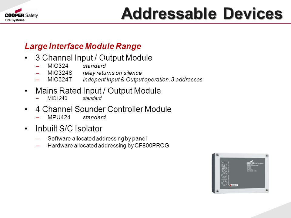 Addressable Devices Large Interface Module Range