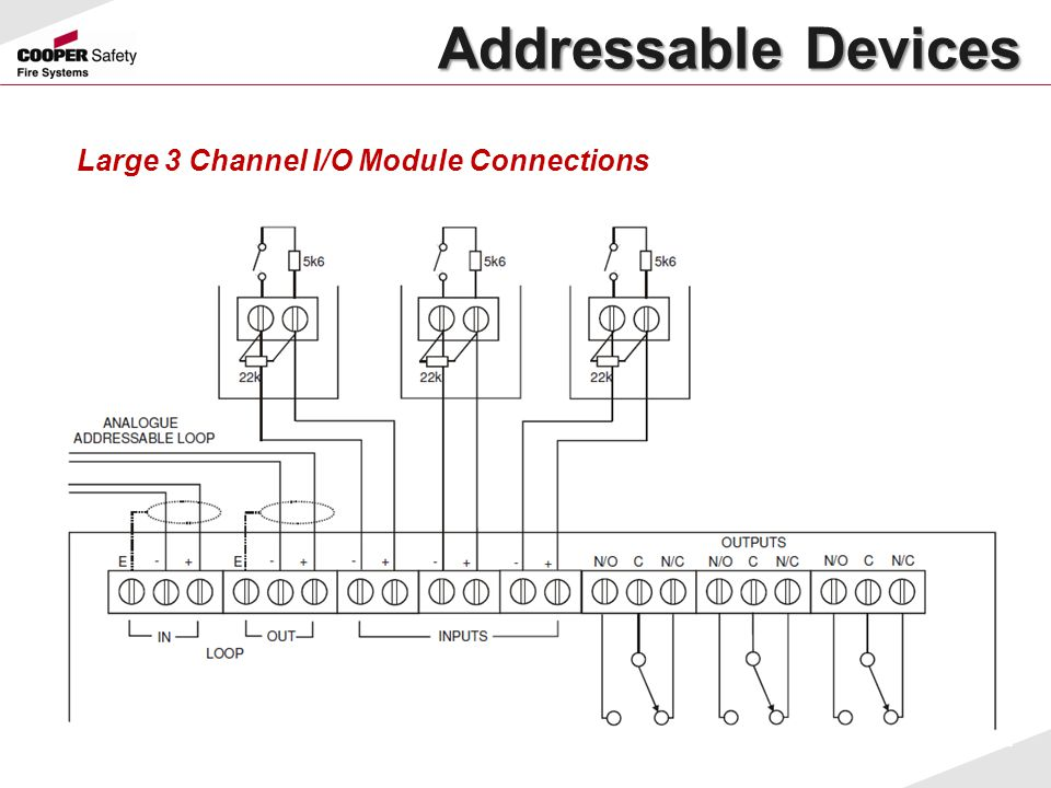 Addressable Devices Large 3 Channel I/O Module Connections