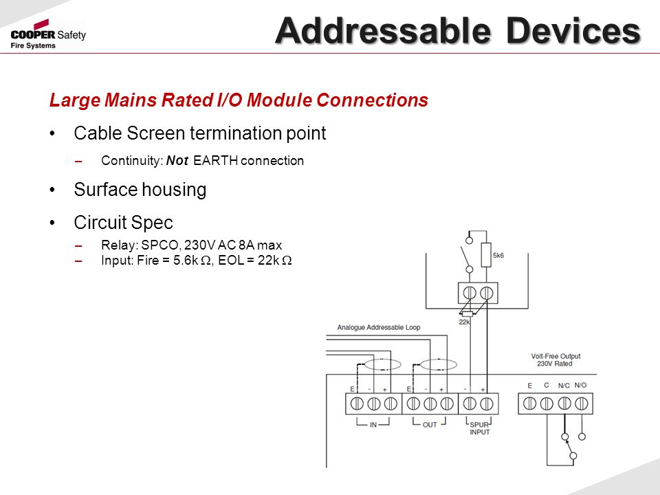 Addressable Devices Large Mains Rated I/O Module Connections