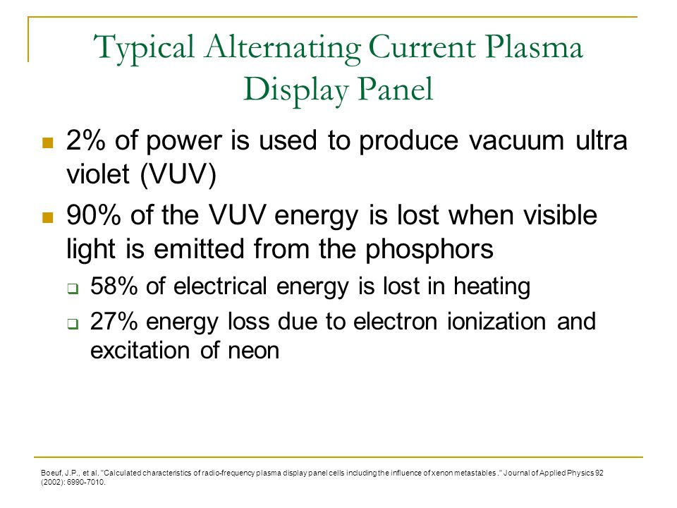 Typical Alternating Current Plasma Display Panel