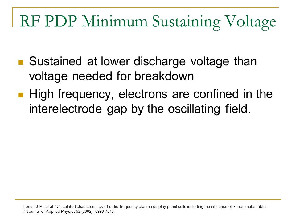 RF PDP Minimum Sustaining Voltage