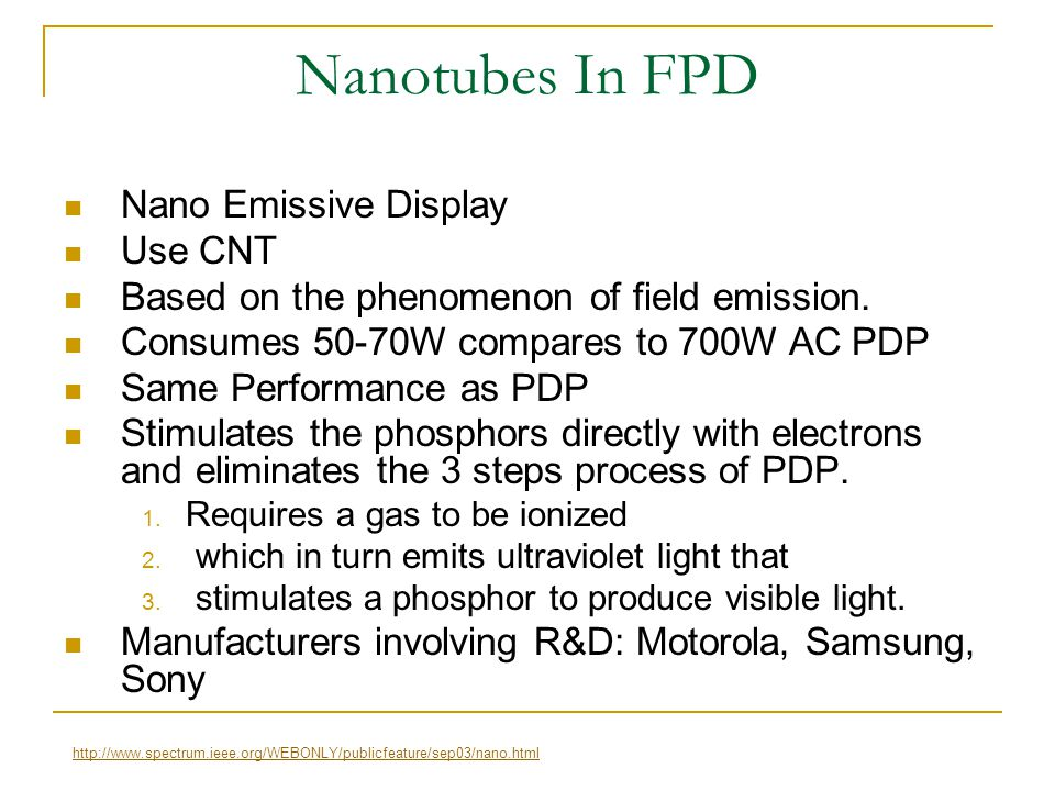 Nanotubes In FPD Nano Emissive Display Use CNT