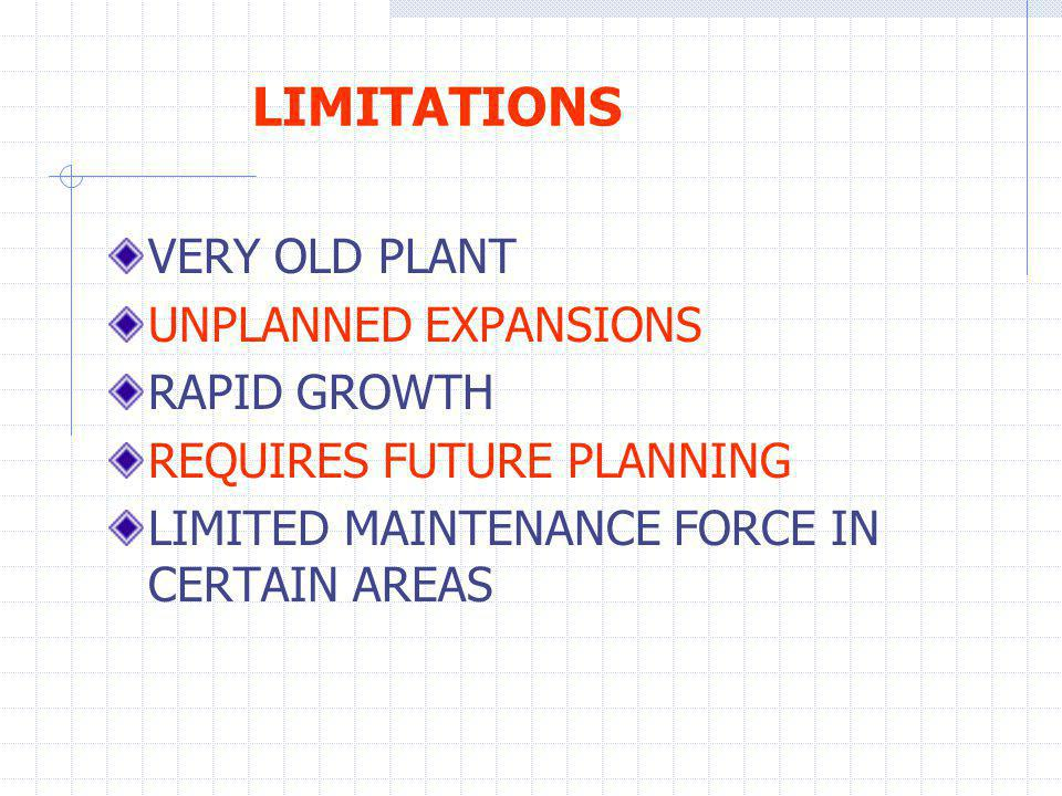 LIMITATIONS VERY OLD PLANT UNPLANNED EXPANSIONS RAPID GROWTH