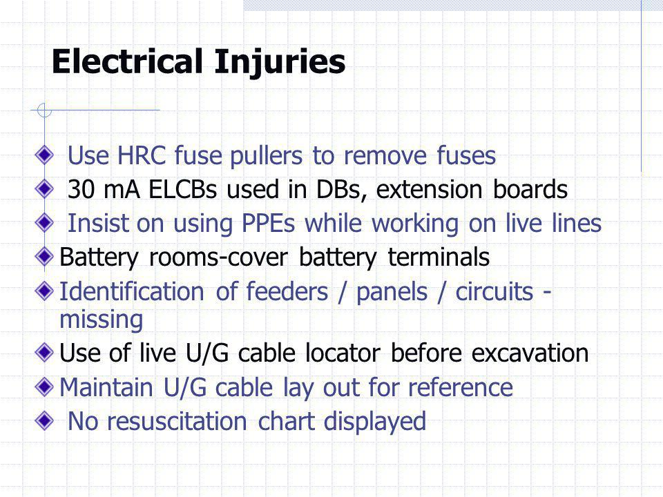 Electrical Injuries Use HRC fuse pullers to remove fuses