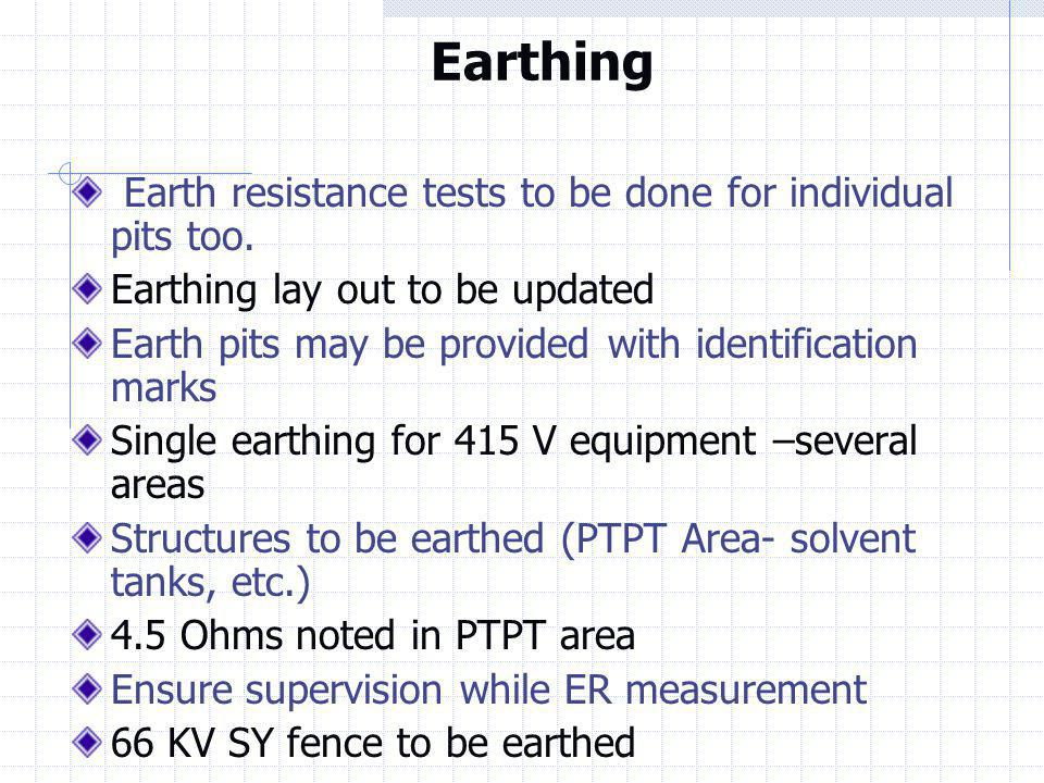 Earthing Earth resistance tests to be done for individual pits too.