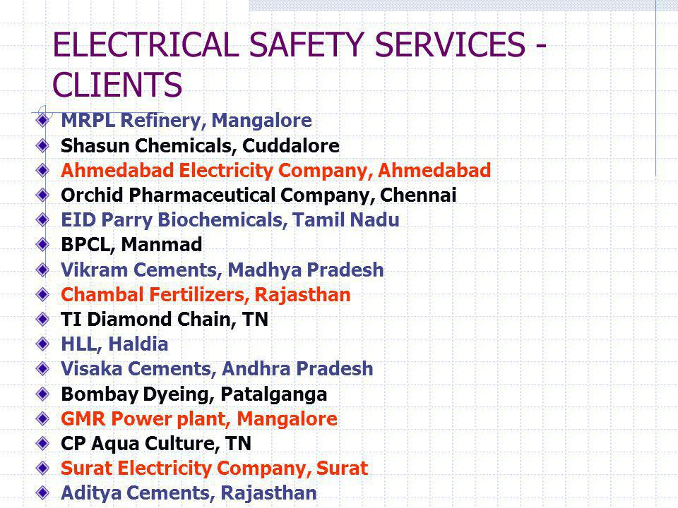 ELECTRICAL SAFETY SERVICES -CLIENTS