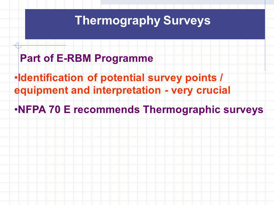 Thermography Surveys Part of E-RBM Programme. Identification of potential survey points / equipment and interpretation - very crucial.
