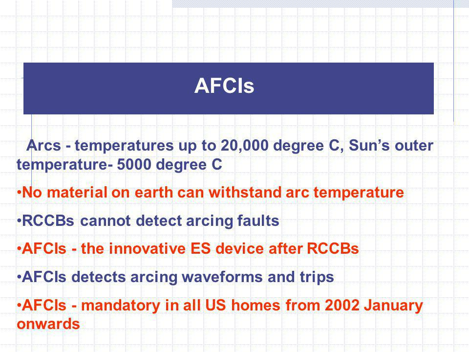 AFCIs Arcs - temperatures up to 20,000 degree C, Sun's outer temperature- 5000 degree C. No material on earth can withstand arc temperature.