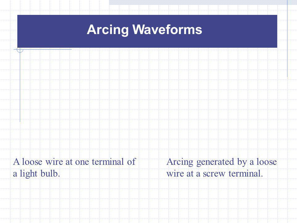 Arcing Waveforms A loose wire at one terminal of a light bulb.