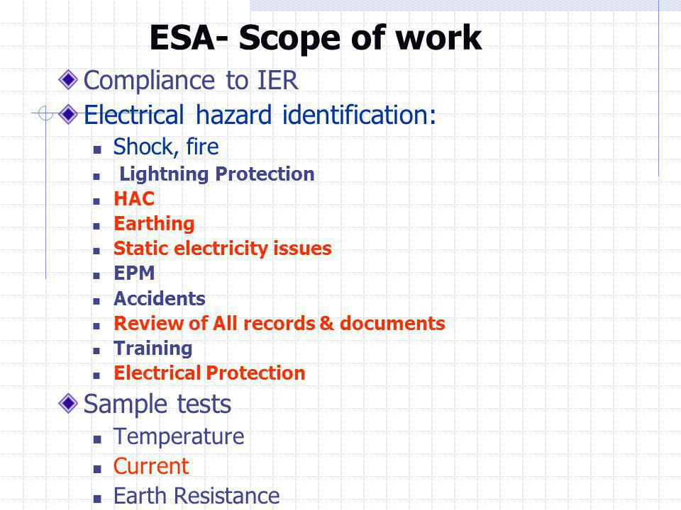ESA- Scope of work Compliance to IER Electrical hazard identification: