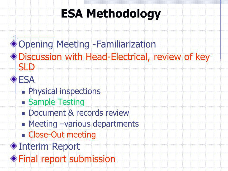 ESA Methodology Opening Meeting -Familiarization